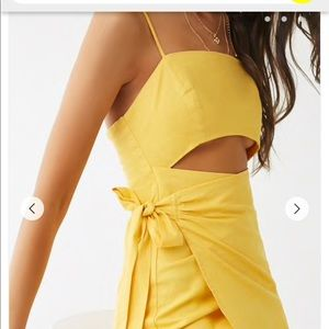 Forever 21 yellow cut out dress only worn once